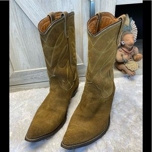 Vintage Double-H Boots Tan Suede & Leather, Gold, Teal Stitching  9.5 Men's